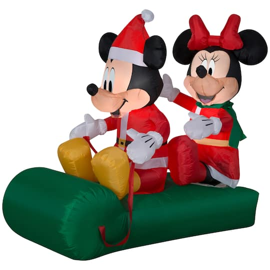 4.5Ft Airblown� Inflatable Christmas Mickey & Minnie Sled Scene By Gemmy Industries | Michaels�