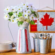 Striped Pitcher with Floral Arrangement, medium