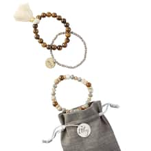 Natural Agate Stacked Beaded Stretch Bracelets with Metal Stamped Charm, medium