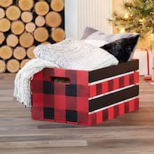 Fireside Buffalo Check Wood Crate, medium