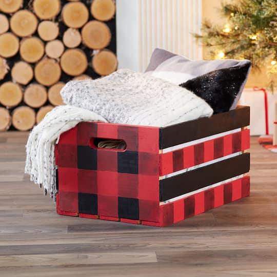 Fireside Buffalo Check Wood Crate, large