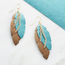 Feather Faux Leather Earrings, medium