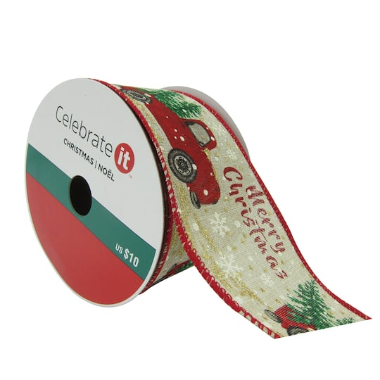 25 faux linen wired cars christmas ribbon by celebrate it