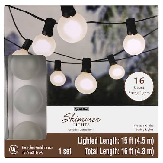 16ct Frosted Globe String Lights By, Globe Outdoor Lights String