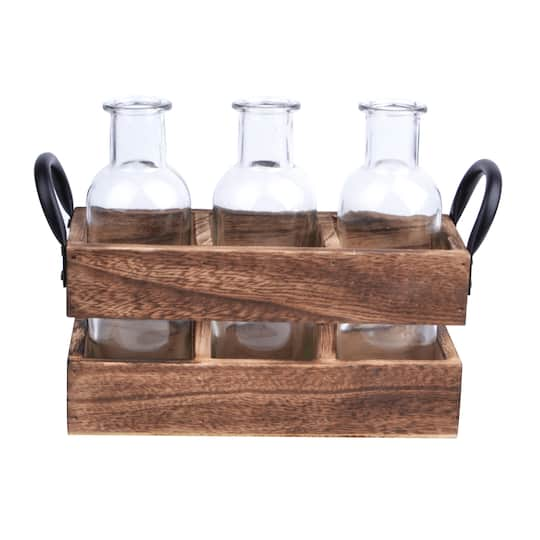 Tall Bottles In Wood Holder By Ashland