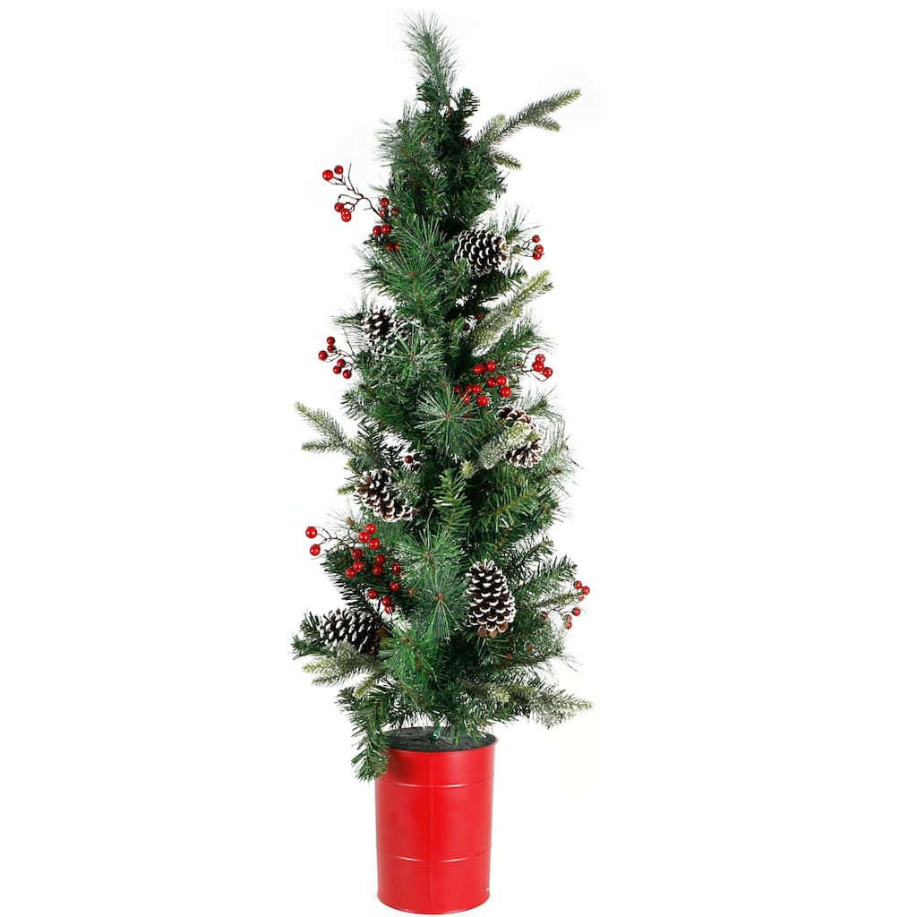 417ft unlit potted pinecone berries artificial christmas tree by ashland
