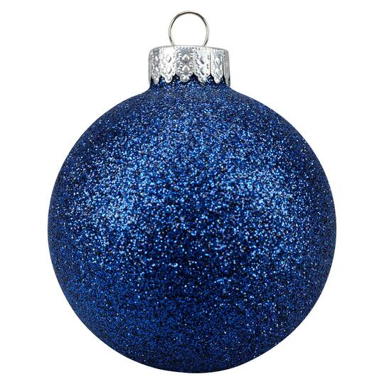 glitter dark blue glass ball ornaments by ashland