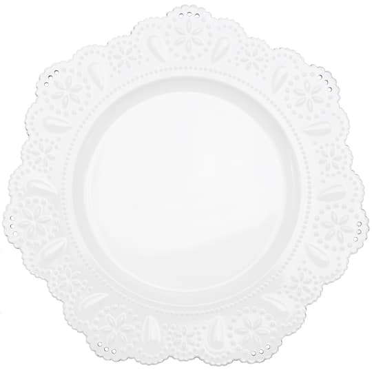 Darice 30107956 White Wash Beads Charger Plate Tabletop ...