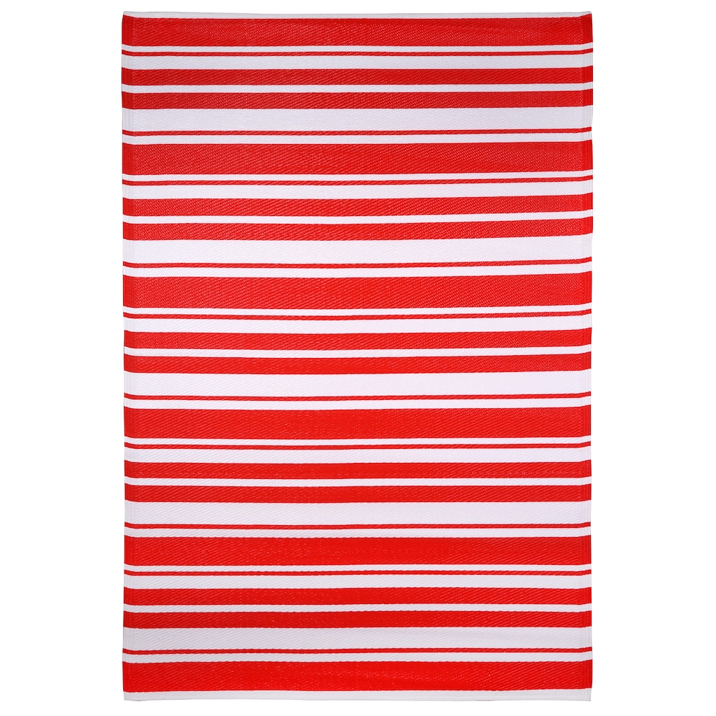 4ft  x 6ft  Red Striped Outdoor Rug by Ashland™