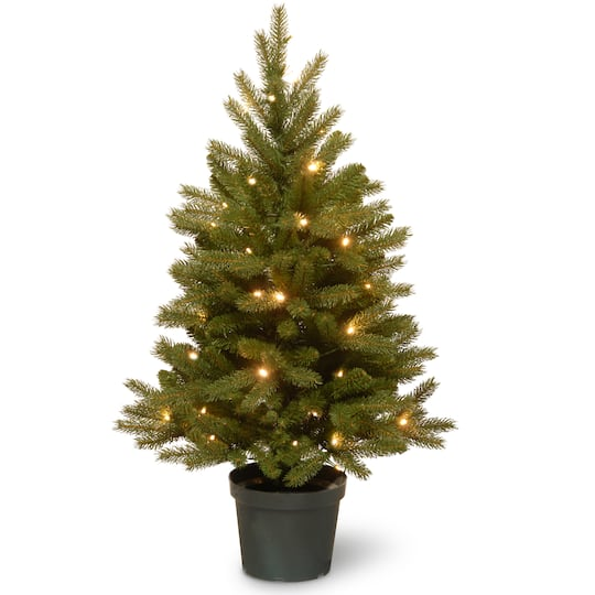 4 Ft Pre Lit Feel Real Jersey Fraser Fir Artificial Christmas Tree In Growers Pot Warm White Led Lights