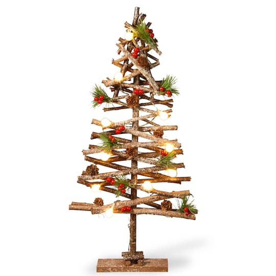 "Christmas Berry Tree Hawaii: 23"" Natural Looking Wooden Pieces Snowy Tree"