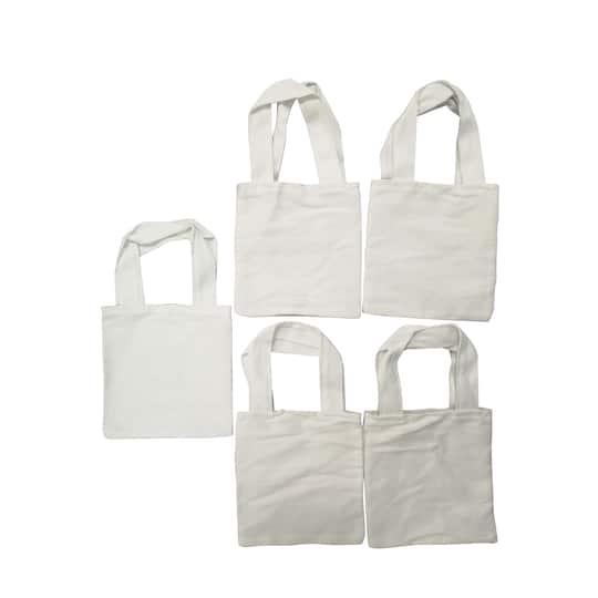 5-Pack Back to Basics Mini Canvas Tote Bag
