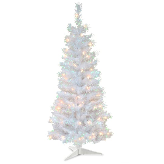 4ft Pre Lit White Iridescent Tinsel Artificial Christmas Tree Clear Lights