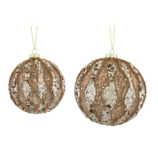 Buy The Glass Silver Rose Gold Ornament Set At Michaels