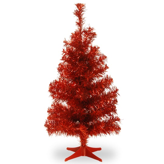 3ft unlit red tinsel artificial christmas tree