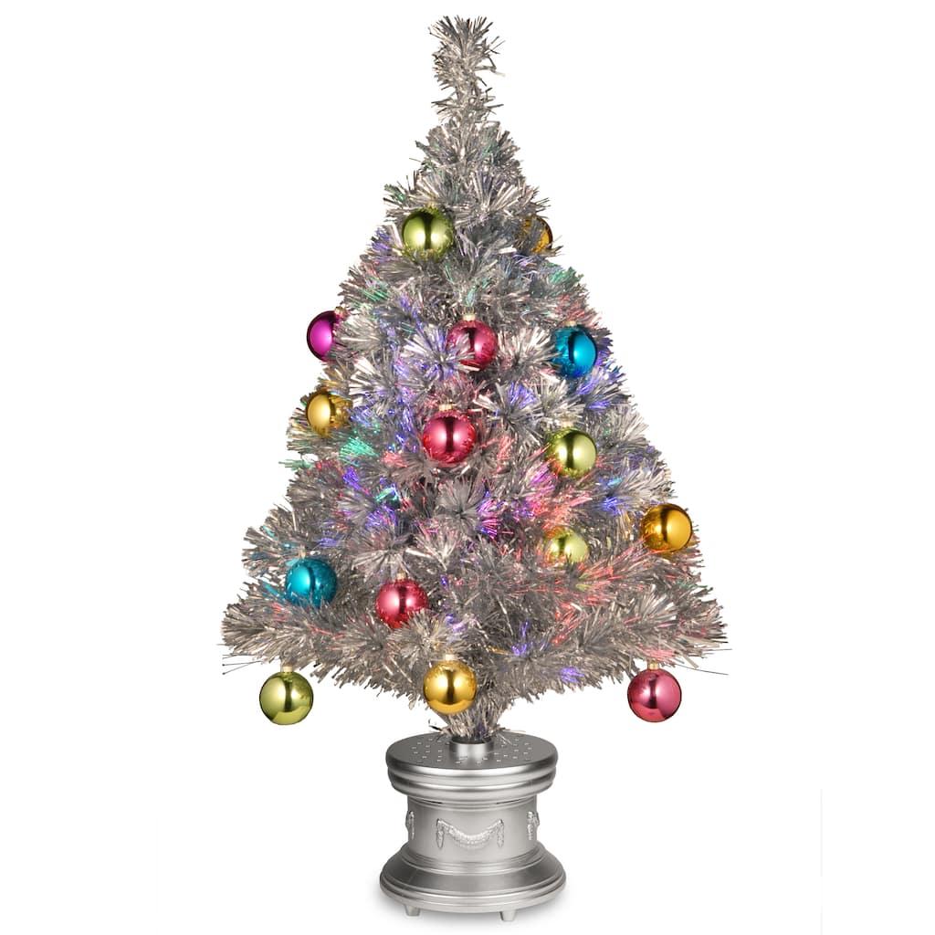 "Christmas Tree Fiber Optic Lights: Find The 32"" Fiber Optic Fireworks Silver Tinsel Tree In"