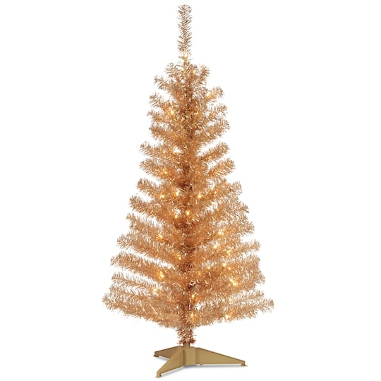 4ft Christmas Tree.4ft Pre Lit Champagne Tinsel Artificial Christmas Tree Clear Lights