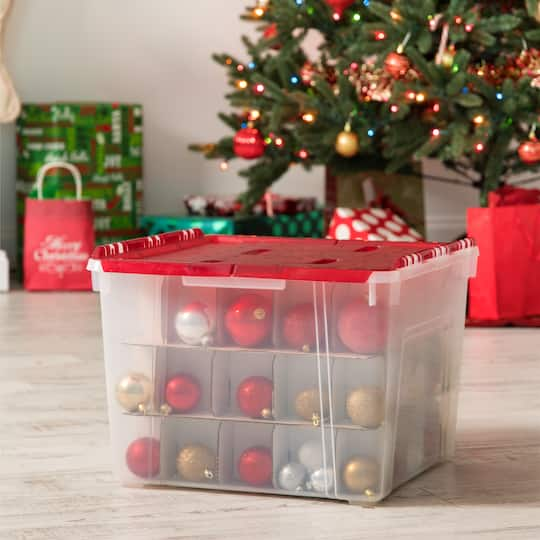 Christmas Ornament Storage.Iris Red Ornament Storage Box 2 Pack