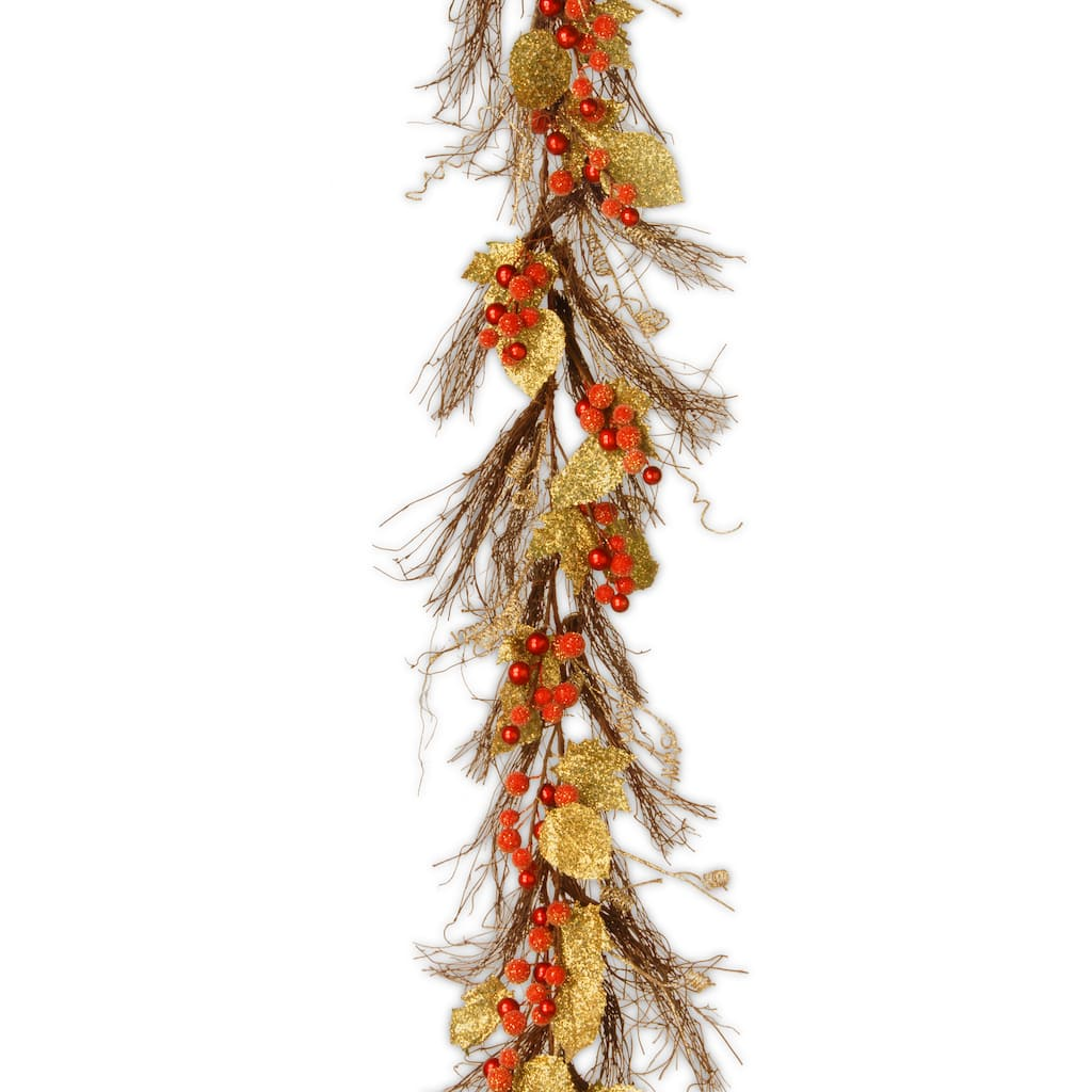 6 Ft Unlit Berry Leaf Vine Artificial Christmas Garland