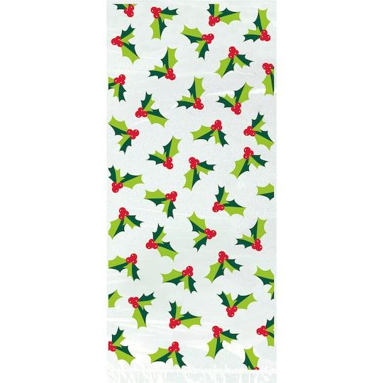 Holly Santa Christmas Cellophane Bags 20ct