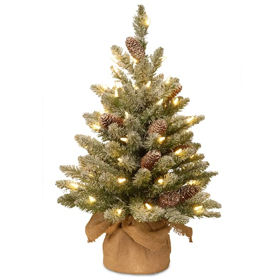 Snowy Concolor Fir Small Artificial Christmas Tree In Burlap With Cones Warm White Led Lights