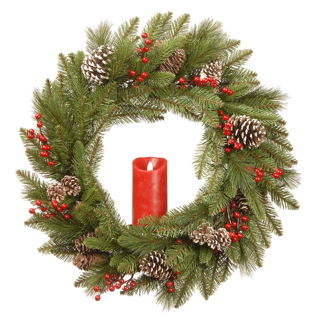 "Christmas Berry Tree Hawaii: Buy The 24"" Feel Real® Bristle Berry Wreath With Red"