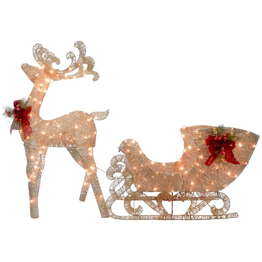 buy the 48 champagne reindeer pulling sleigh white led lights at