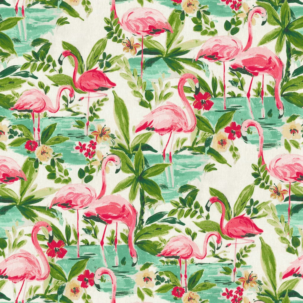 Waverly floridian flamingo in bloom home décor fabric