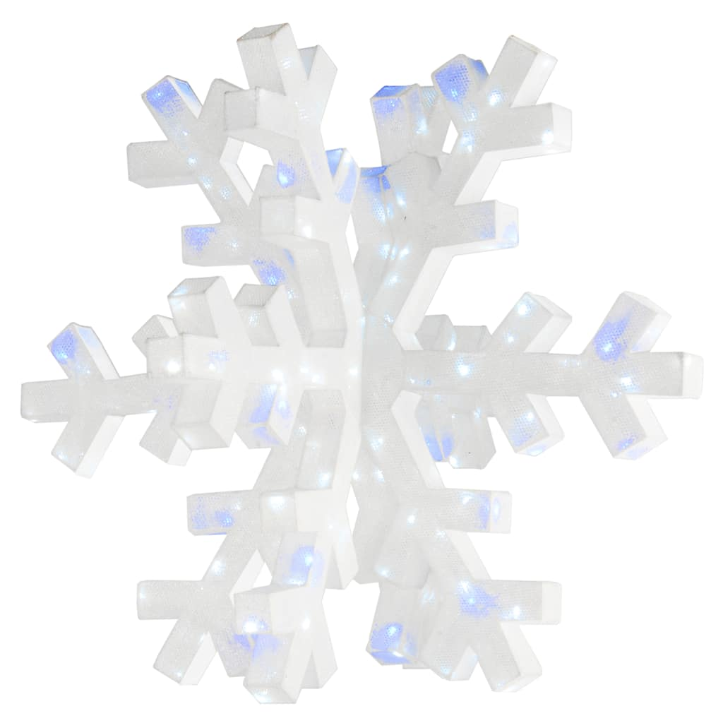 Snowflakes & Stars - 12'' Snowflake Motif, Blue LED Lights  |Snowflake Blue And White Lights