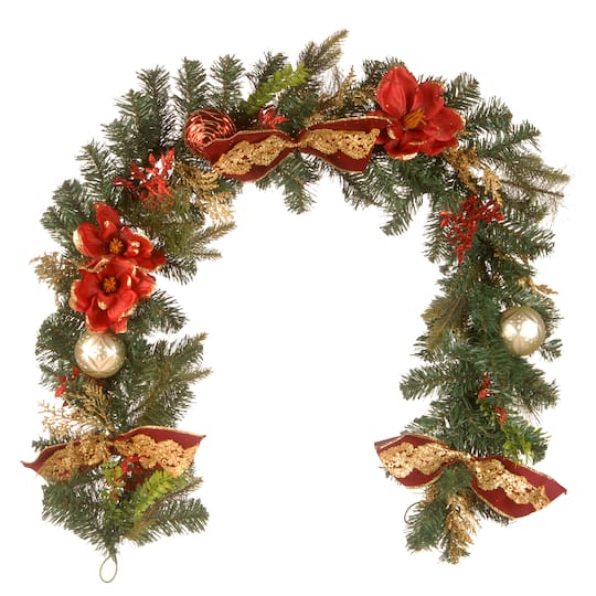 6 X12 Unlit Decorative Artificial Christmas Garland With Ornaments Bows