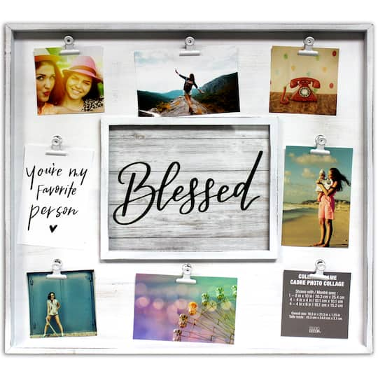 9 Opening White Rustic 19.5″ X 21.5″ Collage Frame With Clips By Studio Decor