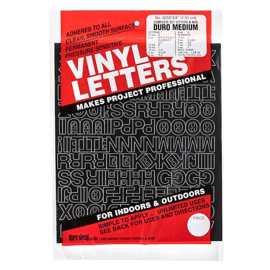 Find The Duro Vinyl Letters Black At Michaels