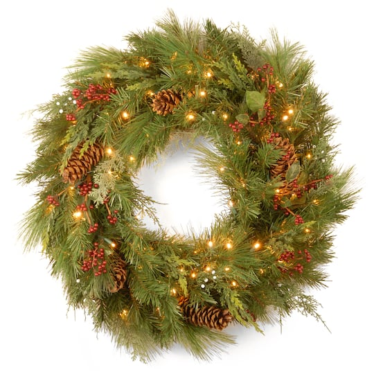 Find The 30 Quot White Pine Amp Pine Cones Wreath With Soft