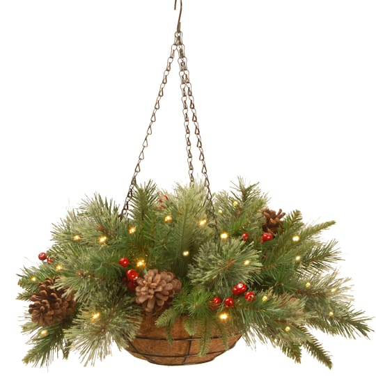 Christmas Hanging Baskets With Lights.20 Pre Lit Feel Real Colonial Artificial Christmas Hanging Basket With Cones Red Berries 50 Warm White Battery Operated Led Lights W Timer