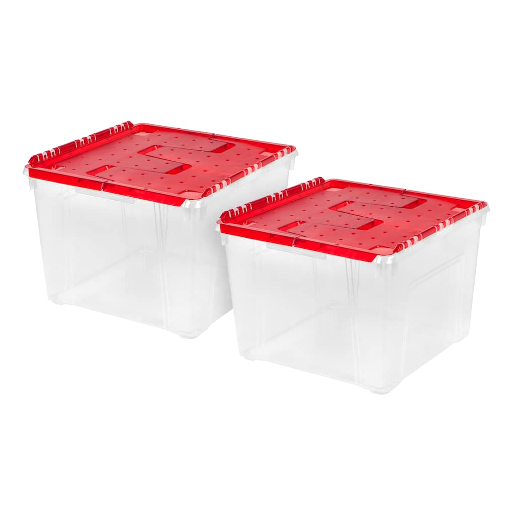 Buy the Iris® Red Ornament Storage Box, 2 Pack at Michaels