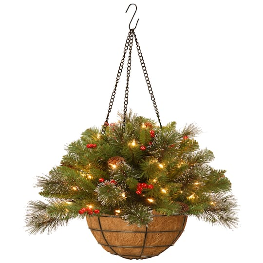20 Pre Lit Crestwood Spruce Artificial Christmas Chain Hanging Basket With Silver Bristle Cones Red Berries Glitter Coconut Fiber In Led