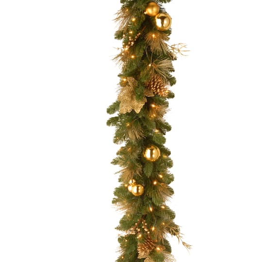 6 X 12 Pre Lit Decorative Collection Elegance Artificial Christmas Garland With Berries Pine Cones And Gold Leaves With Battery Operated Leds With