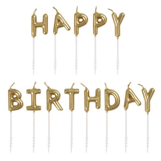 Gold Letter Birthday Cake Candles