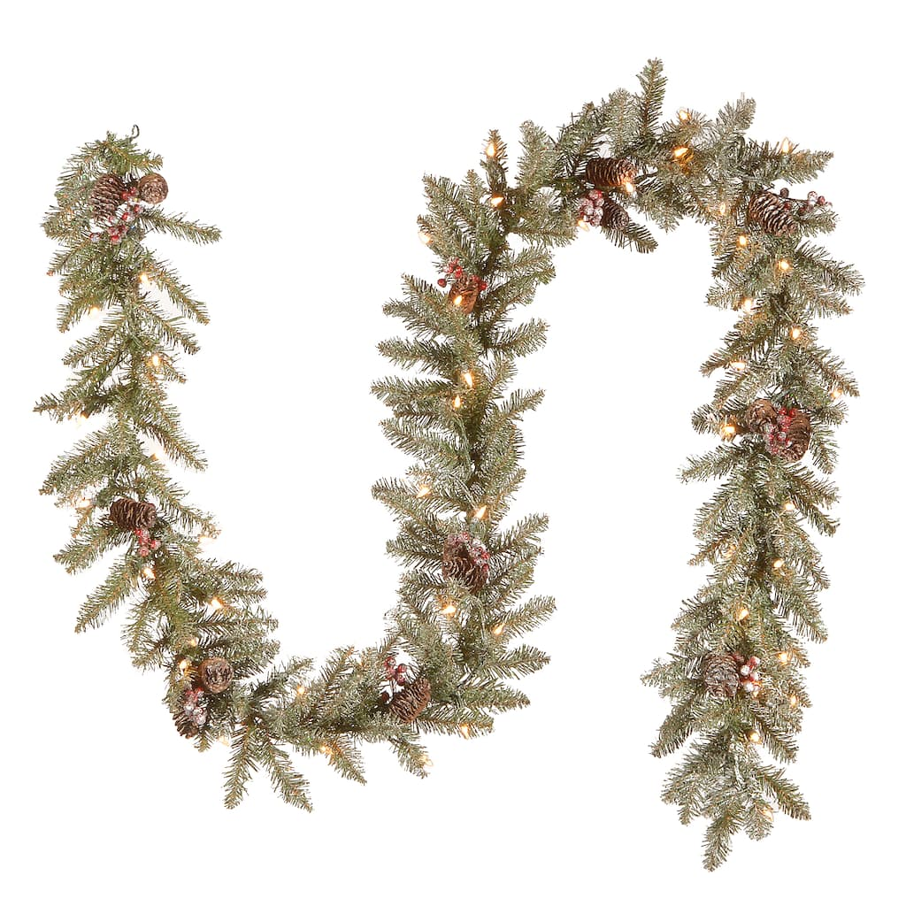 9 X 10 Pre Lit Dunhill Fir Artificial Christmas Garland With Snow Red Berries Cones And 50 Clear Lights