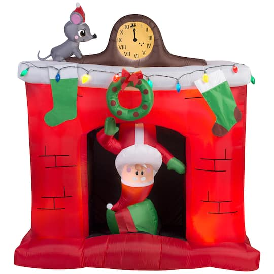 5Ft Airblown� Inflatable Christmas Santa In Fireplace Scene By Gemmy Industries | Michaels�