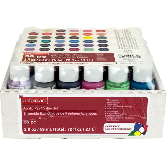 Find the 36 Piece Acrylic Paint Value Set by Craft Smart\u00ae at Michaels