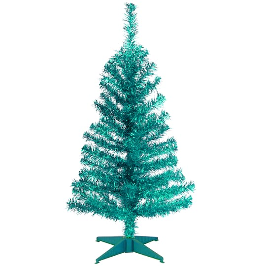 Where To Buy A Nice Artificial Christmas Tree: Buy The 3ft. Unlit Turquoise Tinsel Artificial Christmas