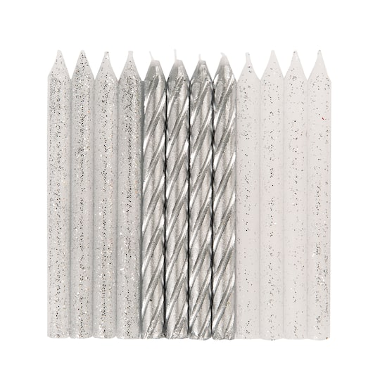 Spiral Silver Glitter Birthday Candles 24ct
