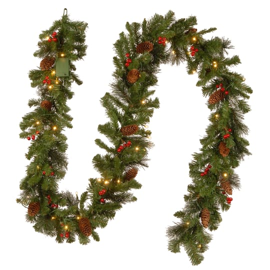9 X 10 Pre Lit Crestwood Spruce Artificial Christmas Garland With Silver Bristle Cones Red Berries And Glitter With 50 Battery Operated Soft