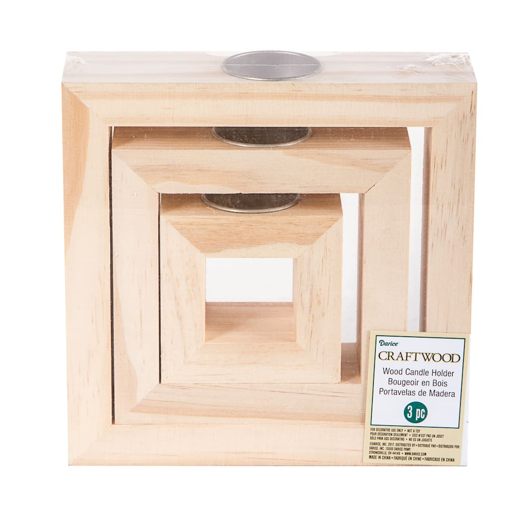 Darice Decorative Wooden Square Candle Holders