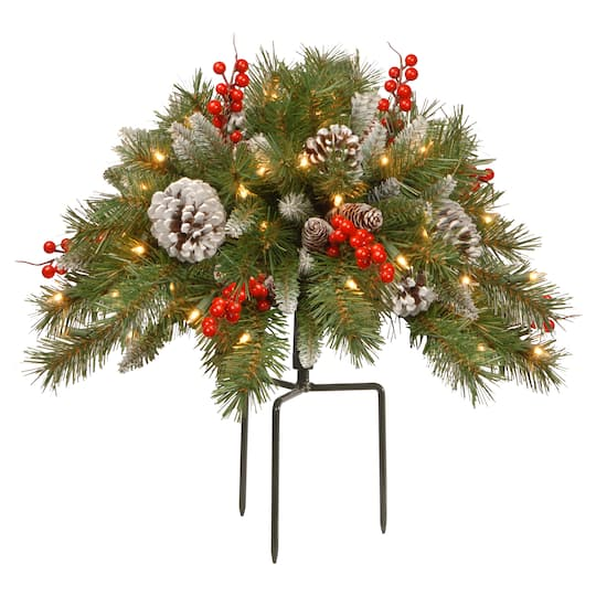 Christmas Tree Fillers.18 Pre Lit Frosted Berry Artificial Christmas Urn Filler With Cones Red Berries Tripod Stake Warm White Led Lights