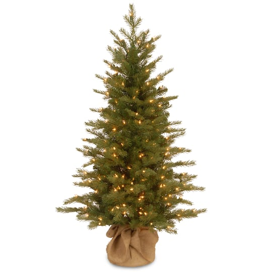 Pre Lit Feel Real Nordic Spruce Small Artificial Christmas Tree In Burlap Clear Lights