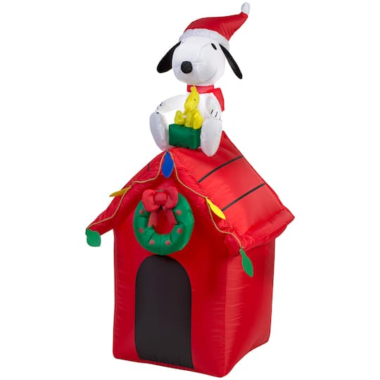 Snoopy And Woodstock Christmas Inflatable.4ft Airblown Inflatable Christmas Peanuts Snoopy Woodstock On Doghouse