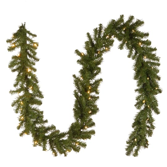 9 X 10 Pre Lit North Valley Spruce Artificial Christmas Garland With 50 Battery Operated Dual Led Lights
