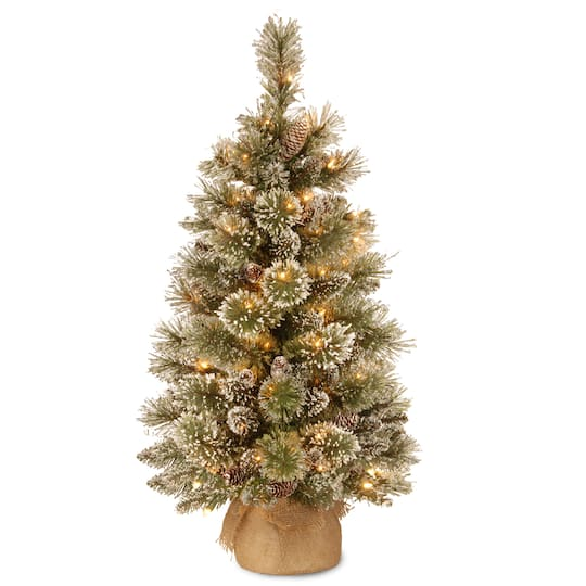 Pre Lit Glittery Bristle Pine Burlap Artificial Christmas Tree Warm White Led Lights At Michaels